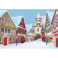 Cartoon City Photo Backdrop Falling Snowflakes Snow Covered ...