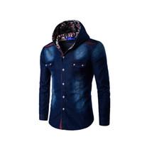 d49906a6a2b New Arrival. Wholesale- Fashion Hooded Denim Shirts Slim Mens Jeans Shirts  Blouse Button Jean Casual Men New SzM-3XL Plus Fit Jacket ...