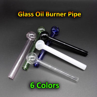 Mini 4.0inch Pyrex Glass Oil Burner Pipe Cheap Clear Pink Blue Green Quemador de aceite Tubos de vidrio Tabaco Fumar Accesorios para Bongs de agua