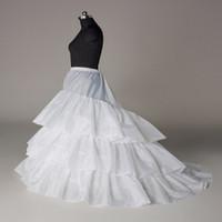 Alta qualità Spedizione gratuita Bridal Petticoats Tre Circle Hoop Tre strato A Line Treno Slip Abito da sposa Petticoat 100% Come immagine
