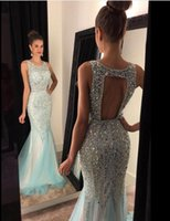 2018 Beading Crystal Mermiad Prom Dresses Scoop Backless Pro...