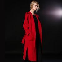 2019 moda Women vermelho / rosa / camelo Abotoamento encapuzados X-Leng Magro Trench Cashmere casaco de lã com cinto