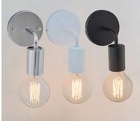 Loft Amerikan Vintage Duvar Lambaları Endüstriyel Kapalı Aydınlatma Başucu Lambaları Duvar Işıkları Ev Dekorasyon E27 Siyah / Beyaz Renk