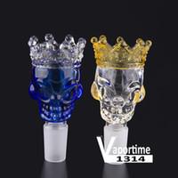 Kral Kafatası Büyük Cam Kase Taç 14mm 18mm Erkek Ortak Kuru Ot Tutucu Mavi Temizle Renk Bong Kaseler Duman Aracı Slayt 340