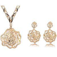 Dubai Gioielli regola la collana placcato oro 18k orecchini dell'annata della collana di strass Antique Rose Fiore a lunga catena dei pendenti dell'annata 6663