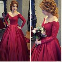 2018 rouge foncé élégante robe de bal quinceanera robes de robe à manches longues épaule dentelle appliquant robes de bal pour doux 16 robes de pierre princesse