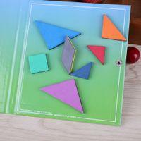 120 Quebra-cabeças com Resposta 7 peças blocos Magnetic Matemática Viagem Tangram Brinquedos Crianças Crianças IQ Game Book Magnet Cartão