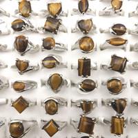 천연 호랑이의 눈 돌 반지 진짜 보석 여성의 링 프로모션 선물 50pcs / lot 도매 무료 배송