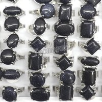 Forma mista Azul Areia Anéis de Pedra Anéis Do Vintage Para O Homem Moda Jóias Para Aniversário 50 pçs / lote Frete Grátis