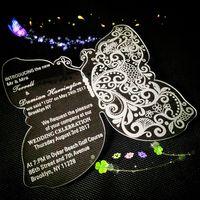 """Acryl Schmetterling Hochzeitseinladungen, klare Hochzeit lädt ein, Acryl Hochzeitseinladungen, Acryl klare Einladungen Karte (5,5 """"x4,5"""" x1 / 12 """")"""