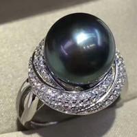 Bonne qualité naturel sombre standard standard standard bague ouverte 11-12mm perle diamant ajustable bague d'un style