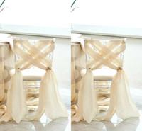 Simple Beach Wedding 2016 Nuovo Chiffon Chair Sash Elegante Custom Made Factory Sale Coprisedili per matrimonio romantico Cheap Criss Cross
