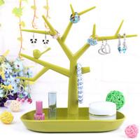 2 PCS Verde Frete Grátis Hot Sales Moda TC Colar de Jóias Anel Brincos Pássaro Árvore Stand Display Organizador Titular Rack