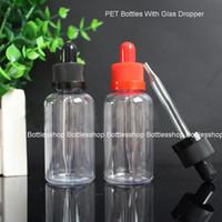 도매 미국 영국 빈 유리 피펫 50ml 플라스틱 애완 동물 dropper 병 eliquid 검은 아이 증거 캡 고무 dropper 저렴한 가격