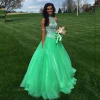 Energetic High Neck Green Shining Prom Dresses 2018 Sexy Bea...