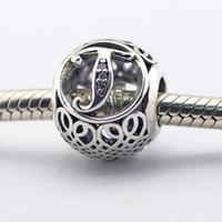 Vintage T Clear CZ 20 100% 925 Branelli in argento sterling in forma fisso Pandora Charms Bracciale Braccialetto Autentico FAI DA TE Monili di moda