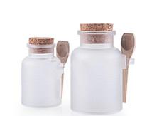 200G ABS-Verpackungs-Flasche mit Korken-Glas mit hölzernem Löffel als Badesalz-Flasche pulverisiert kosmetischen Behälter