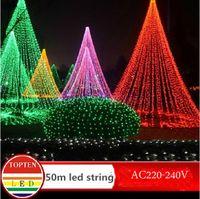 하이 -Q 방수 240 LED 문자열 빛 50m 220V-240V 야외 장식 빛 크리스마스 파티 결혼식 8colors 실내 야외 장식