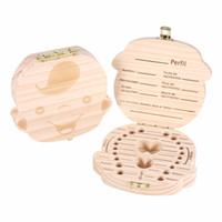 I denti del bambino di legno risparmiano la scatola del latte del latte Organizzatore dei denti personalizzati Decorazioni dei denti del bambino stoccaggio Scatola di souvenir decidua sveglia per i bambini