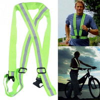 Nuevo Hombre de las mujeres que corre de alta seguridad ajustable Visibilidad de seguridad Chaleco reflectante Chaqueta de rayas de engranaje para correr - Ciclismo - Caminar