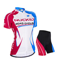 Cyclisme sur route femme NUCKILY Jersey confortable + short Bicycle Outdoor Jersey Set Respirant Bleu blanc rouge Taille S, M, L, XL, XXL