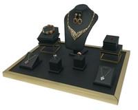 المجوهرات الفاخرة عرض العداد الأسود بو الجلود قلادة الطوق حامل كيت