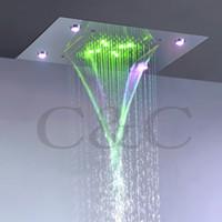 Современный дождь и водопад насадка для душа 110 В~220 В переменного тока красочные LED ванная комната топ душ набор L-50X36P