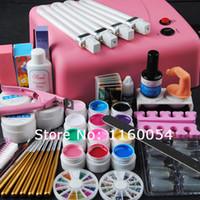 Al por mayor-2015 New Pros 36w lámpara uv rosa 12 colores UV Gel limpiador de gel uv sólido más kit de herramientas de uñas 230 #