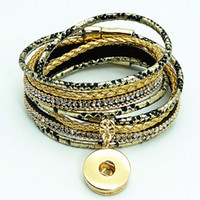 New Se0183 Colorful Beauty Serpentine Multi -Layers Leather Snap Bracelet 38cm Golden Buttons Fit 18mm Snap Buttons Snap Jewelry