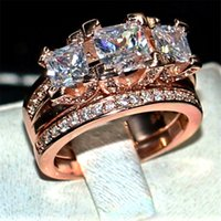 Brand gemstone ring Finger Jewelry Three stones white Diamond Rings set 2-in-1 925 Silver & Rose gold Wedding Ring For Women