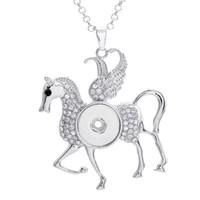 Lega bottone a scatto Pegasus con pendente di fascino del Rhinestone per DIY che fa i risultati dei monili misura i pezzi Noosa di 18MM