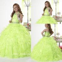 Verde Princesa Girl's Pageant Dress Boa Qualidade Organza Frisada Festa Cupcake Flower Girl Bonito Vestido Para Criança