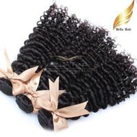 Encaracolado Extensões Do Cabelo Brasileiro Extensões de cabelo Humano Remy Do Cabelo Humano Weave Bundles Drop Shipping3pcs / lot 9A Bellahair