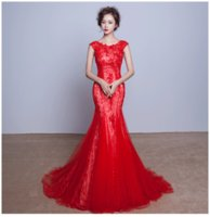 Robe De Soiree 2016 New The Bride Married Red Lace Fishtail ...