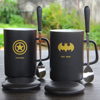 Ceramic Mug Black Color 400ML Bat Man Spider Man The Avenger...