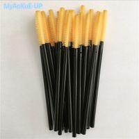 500 unids Al Por Mayor Negro con Naranja Amarillo Silicona Cabeza Lash Brush Toalla Forma Pestañas Mascara Varitas Aplicador Cepillo