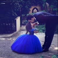 Длинная принцесса Золушка Цветок Девушка Платья с длиной плеча Длина мяч Бальное платье Синие Дети Пагентные платья Новый дизайн Пользовательские
