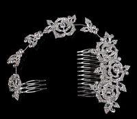 Zarif Uzun Gül Saç Tarak Rhinestone Tokalar Gelin Düğün Saç Aksesuarları Takı Avusturyalı Kristaller Saç Klipleri
