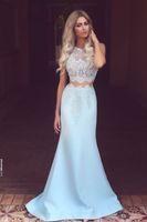 Designer promenade lungo poco costoso due pezzi Prom Dresses puro partito merletto della parte superiore dei vestiti da sera 2021