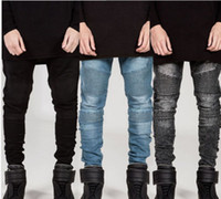 Men Pencil Pants BIKER JEANS Draped Stylish Slim Fit Jeans H...