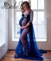 Modabelle Plus Size Vestidos De Noite Grávidos Sessões De Fotos 2017 Profundo Azul Royal Ver Através Do Laço Maternidade Prom Vestido Barato
