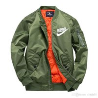 Wholesale- New MA1 pilot jackets kanji black green flight ja...