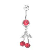 D0094 (1 لون) اللون الأحمر styl البطن الدائري البطن الدائري نمط الكرز نمط خواتم الجسم ثقب مجوهرات استرخى اكسسوارات الأزياء سحر 10 قطع