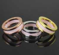 Black White  Pink Narrow Ceramic Rings, Yellow Gold  Rose Gol...