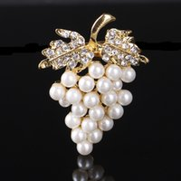 Grapes Brooches Gold- color Imitation Pearl Brooch Rhinestone...