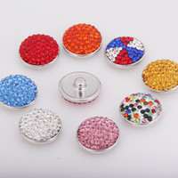 10PCS Lot Hot Colorized Rhinestones Round Metal Snap Button ...