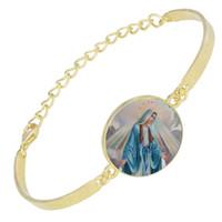 حار بيع يسوع المسيح الكاثوليكية سوار أساور مجوهرات اليدوية جولة زجاج كابوشون قابل للتعديل فضي اللون سلسلة سوار الملحقات