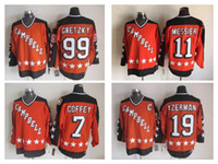 Barato Jersey Hóquei 1984 All Estrela Campbell # 19 Steve Yzerman # 11 Mark Messier # 99 Wayne Gretzky # 7 Paul Coffey CCM Retro Stitched Jersey