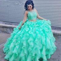 Two piece Lace Turquoise Quinceanera Dresses With Beadede Cr...