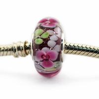 Adatto per Bracciali Pandora Autentico 925 gioielli in argento sterling Fiore Giardino in vetro di Murano Charm Diy Bead 2016 Estate
